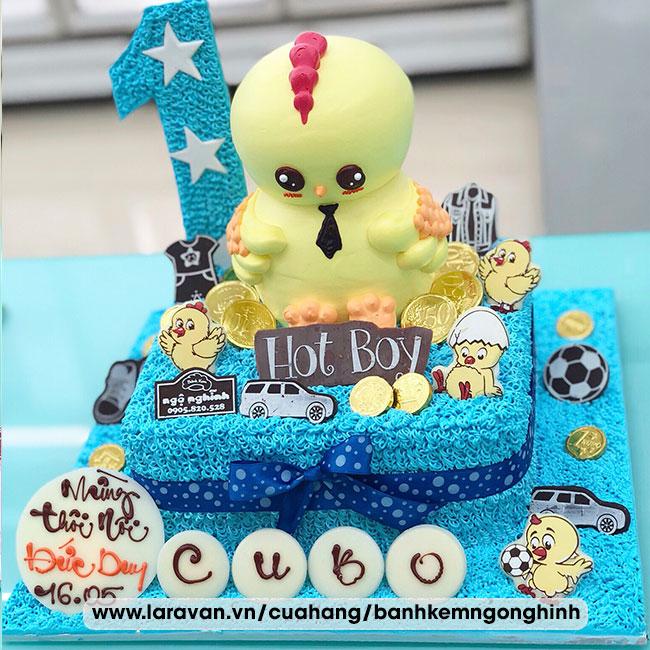 Bánh kem sinh nhật mừng thôi nôi bé trai