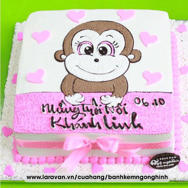 Bánh kem sinh nhật mừng thôi nôi bé gái