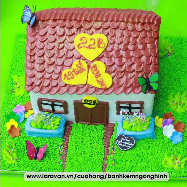 Bánh kem sinh nhật tạo hình 3d ngôi nhà độc lạ