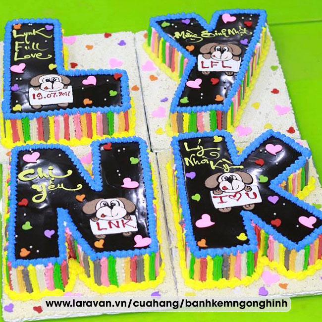 Bánh kem sinh nhật tạo hình 3d chữ tên người nổi tiếng