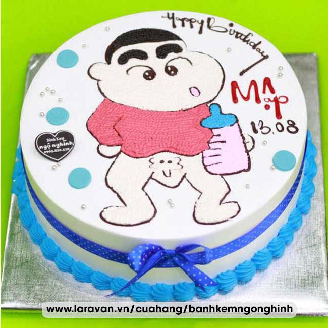 Bánh kem sinh nhật nhân vật hoạt hình shin, cậu bé bút chì