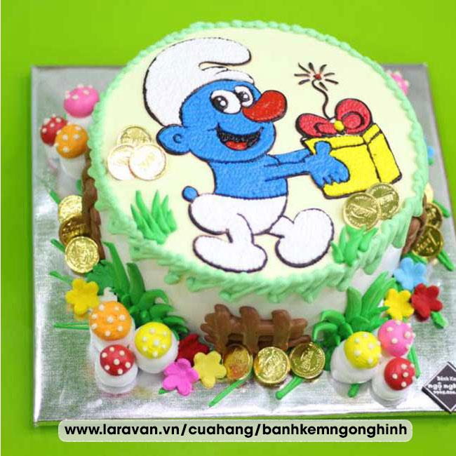 Bánh kem sinh nhật nhân vật hoạt hình xì trum