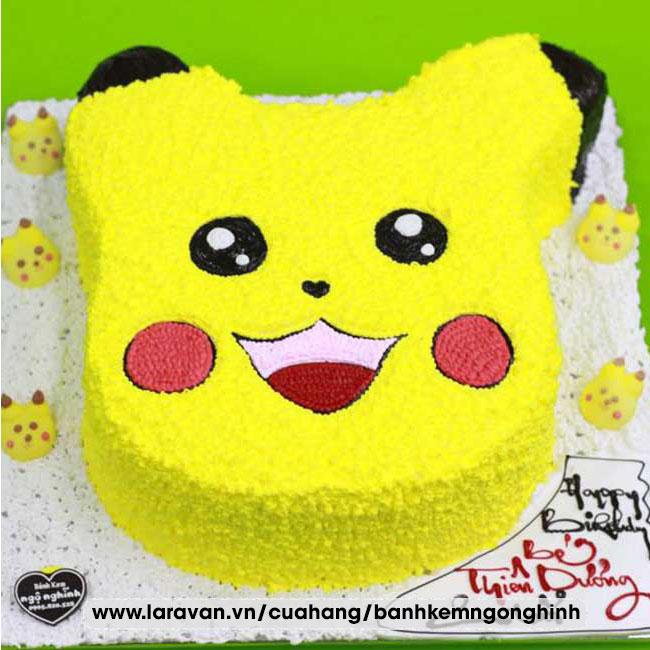 Bánh kem sinh nhật nhân vật hoạt hình pikachu, pokemon