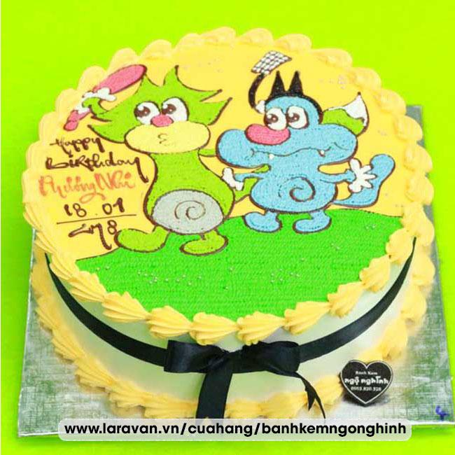 Bánh kem sinh nhật nhân vật hoạt hình mèo oggy