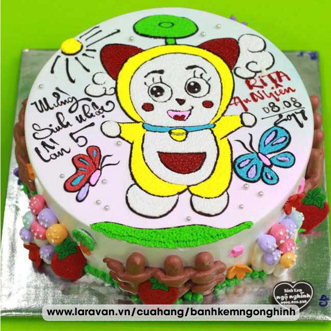 Bánh kem sinh nhật nhân vật hoạt hình doremi