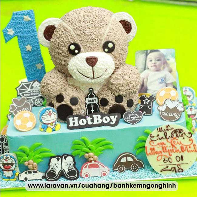 Bánh kem sinh nhật nhân vật hoạt hình gấu teddy