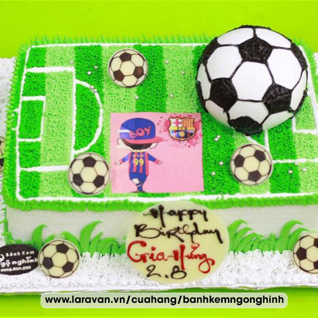 Bánh kem sinh nhật tạo hình sân banh và trái banh ngộ nghĩnh