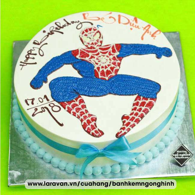 Bánh kem sinh nhật vẽ hình người nhện