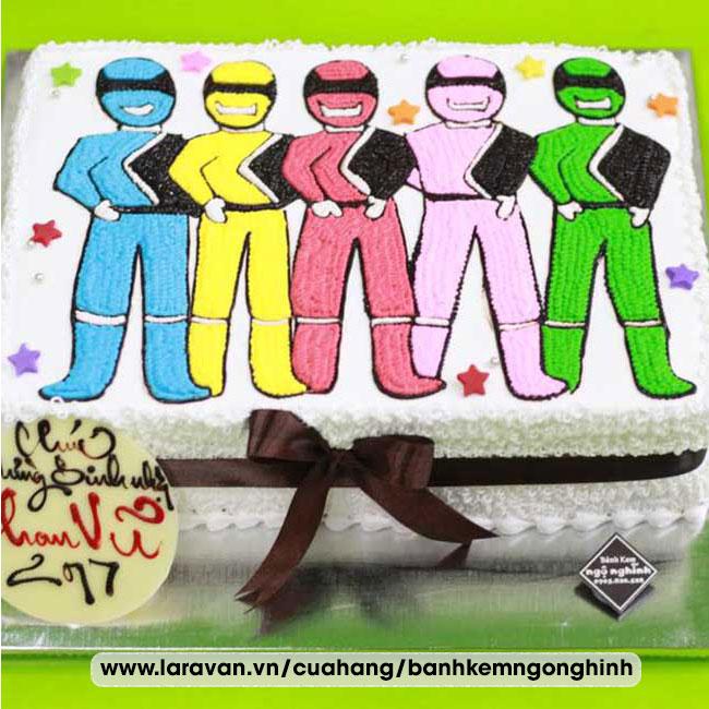Bánh kem sinh nhật vẽ hình 5 anh em siêu nhân