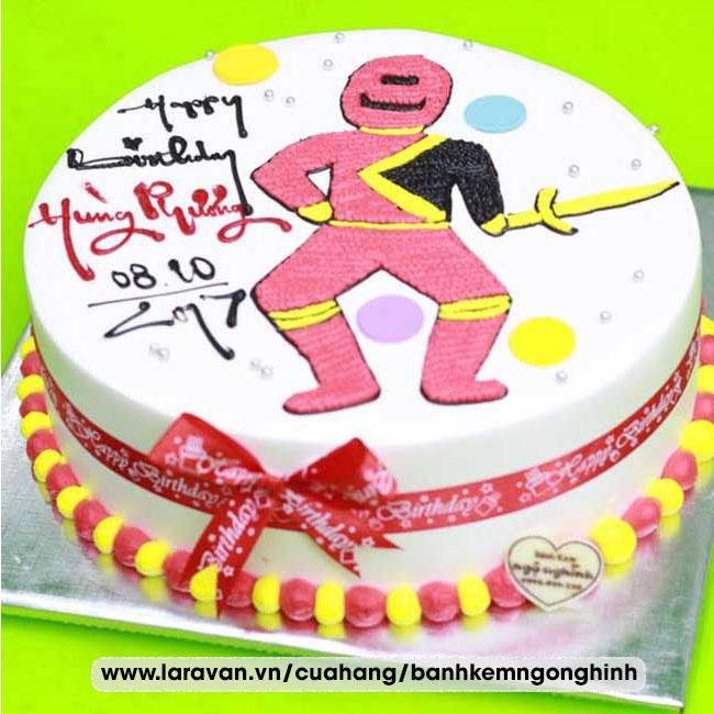 Bánh kem sinh nhật vẽ hình siêu nhân thần kiếm
