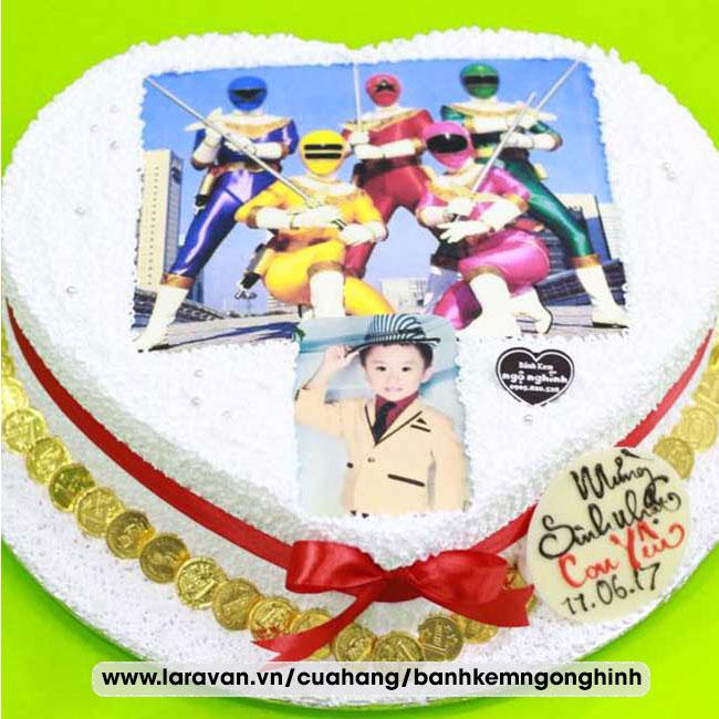 Bánh kem sinh nhật in hình 5 anh em siêu nhân gao