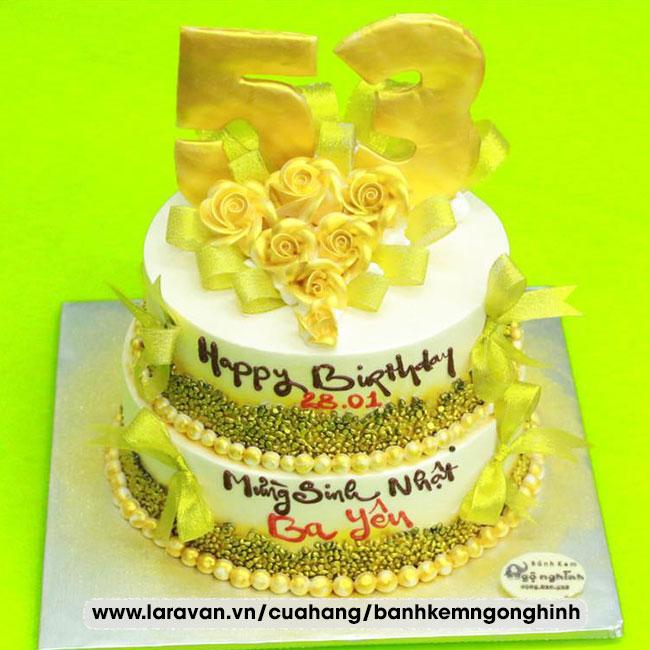 Bánh kem sinh nhật 2 tầng tặng ba sang trọng