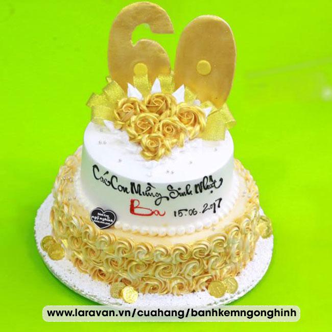 Bánh kem sinh nhật 2 tầng bắt hoa mạ vàng sang trọng tặng ba