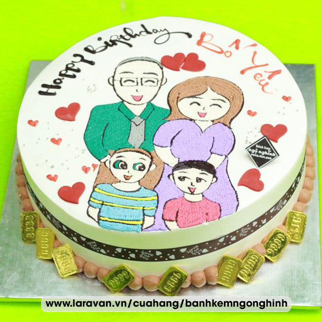 Bánh kem sinh nhật vẽ hình ngộ nghĩnh đáng yêu tặng bố