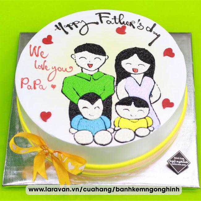 Bánh kem sinh nhật vẽ hình ngộ nghĩnh đáng yêu tặng papa