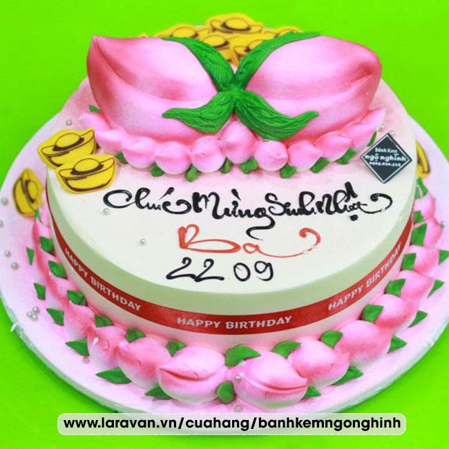 Bánh kem sinh nhật tạo hình 3d quả đào tiên tặng ba