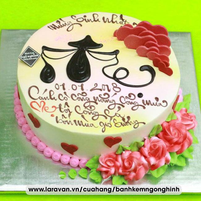 Bánh kem sinh nhật ghi chữ nghệ thuật tặng mẹ