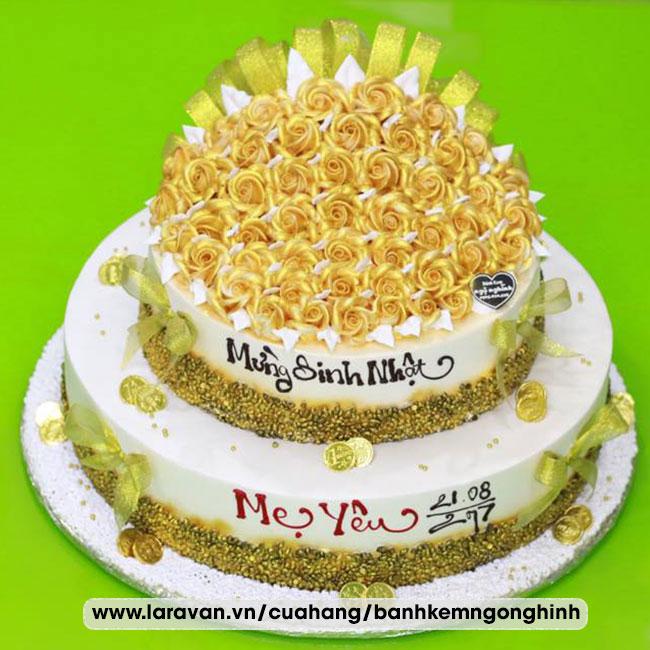 Bánh kem sinh nhật 2 tầng bắt bó hoa hồng mạ vàng tặng mẹ