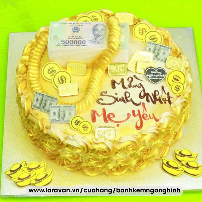 Bánh kem sinh nhật tạo hình tiền vàng sang trọng tặng mẹ