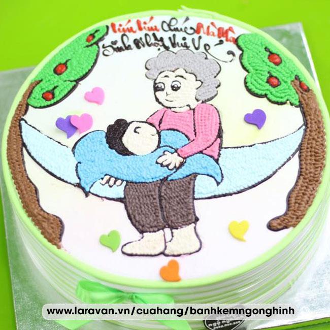 Bánh kem sinh nhật vẽ hình đáng yêu tặng má