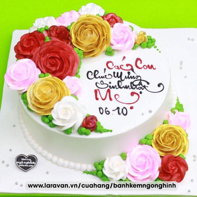 Bánh kem sinh nhật bắt hoa hồng đa sắc rực rỡ tặng mẹ