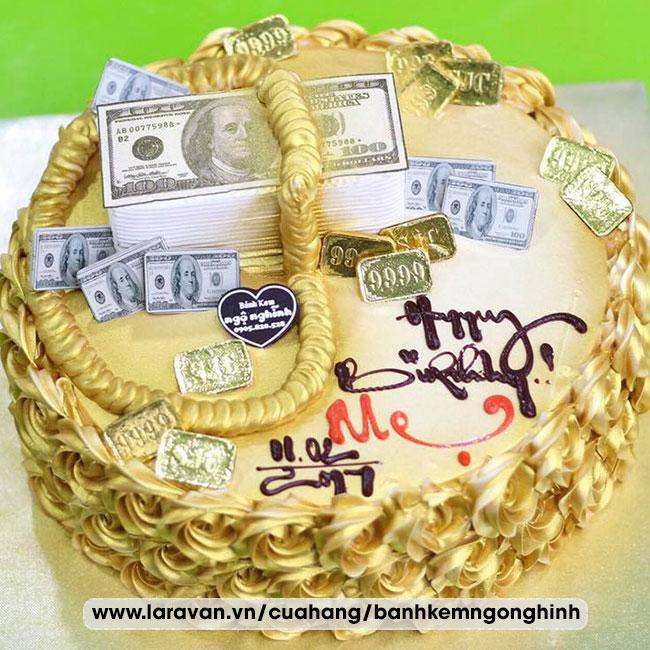 Bánh kem sinh nhật tạo tiền vàng sang trọng tặng mẹ