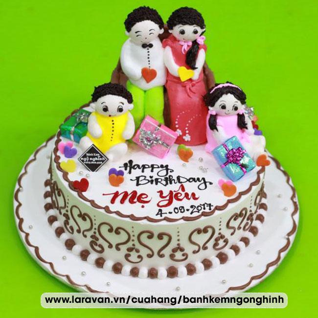 Bánh kem sinh nhật tạo hình gia đình ngộ nghĩnh tặng mẹ
