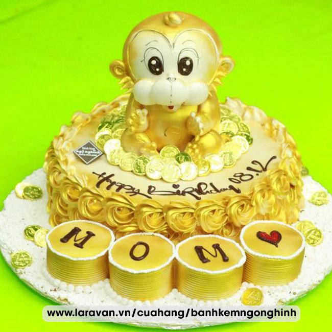 Bánh kem sinh nhật tạo hình chú khỉ mạ vàng sang trọng tặng mẹ