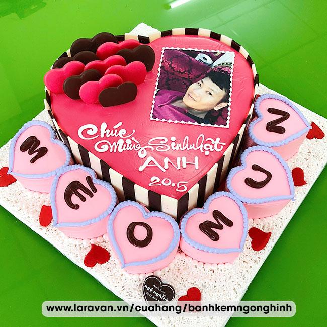 Bánh kem sinh nhật in hình trái tim tặng nam đẹp mắt
