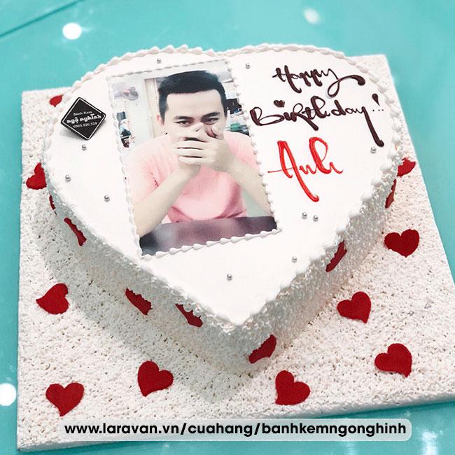 Bánh kem sinh nhật in hình trái tim tặng nam dễ thương