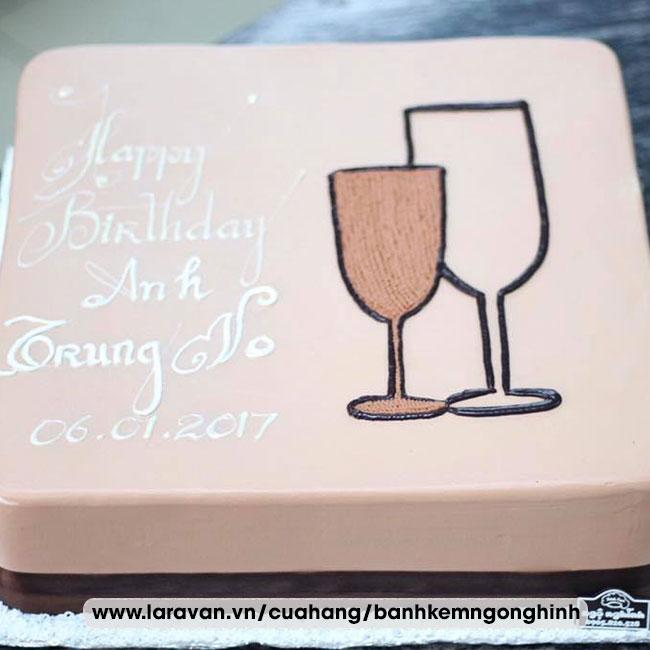Bánh kem sinh nhật vẽ hình ngộ nghĩnh tặng nam