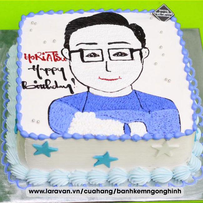 Bánh kem sinh nhật vẽ hình tặng nam dễ thương