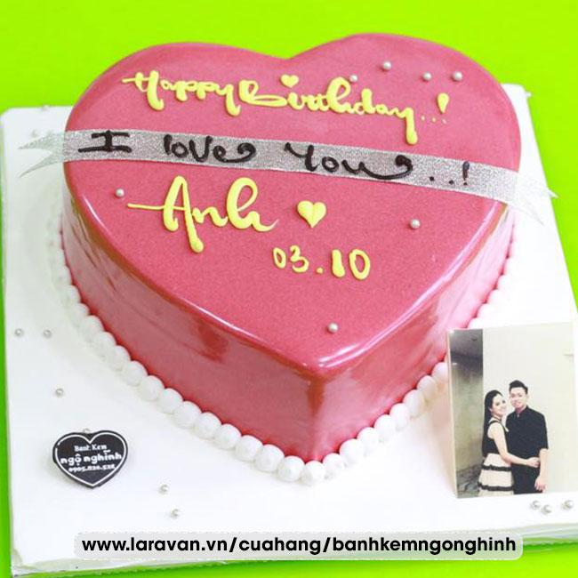 Bánh kem sinh nhật trái tim phủ socola đẹp lãng mạn tặng nam