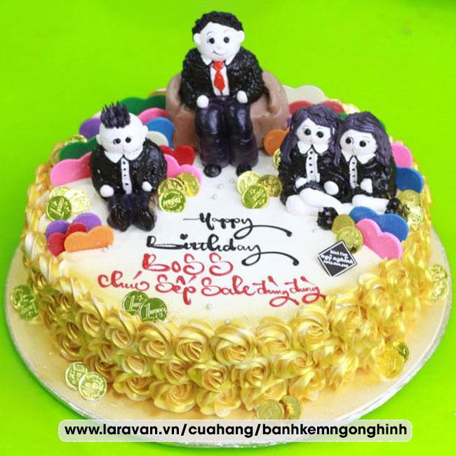 Bánh kem sinh nhật tặng sếp sang trọng ngộ nghĩnh