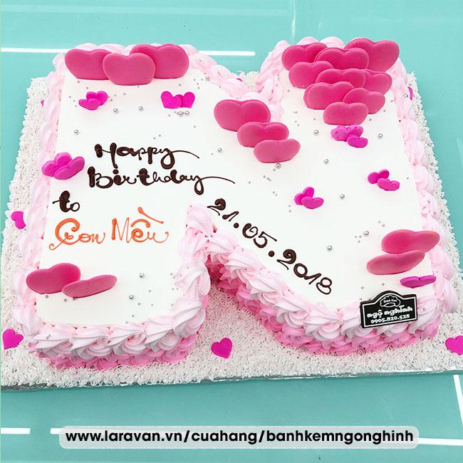 Bánh kem sinh nhật tạo hình 3d chữ N