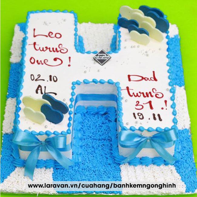 Bánh kem sinh nhật tạo hình 3d chữ H