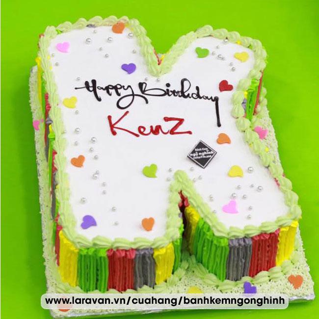 Bánh kem sinh nhật tạo hình 3d chữ K