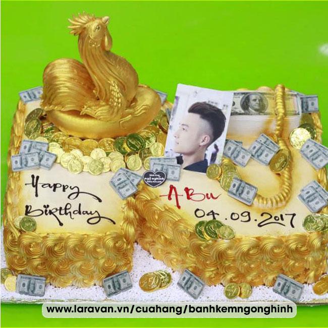 Bánh kem sinh nhật tạo hình 3d chữ N mạ vàng