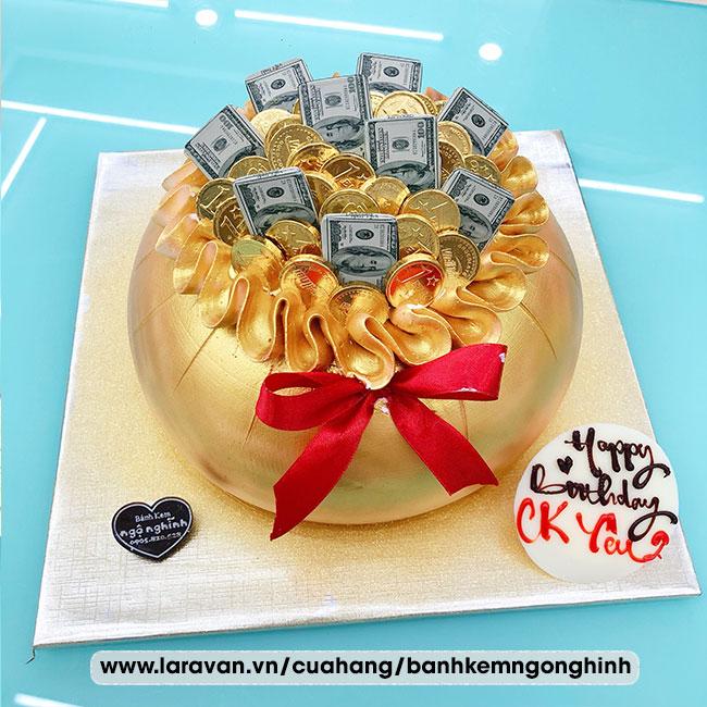 Bánh kem sinh nhật tạo hình 3d hủ vàng, túi vàng