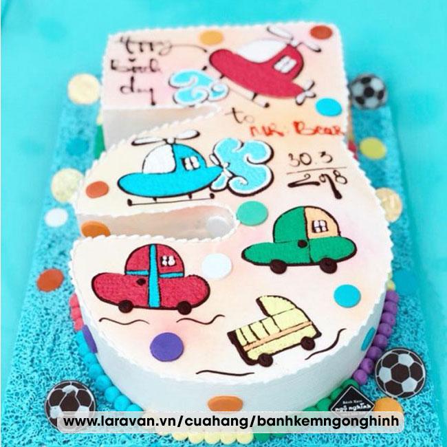 Bánh kem sinh nhật tạo hình 3d số 3