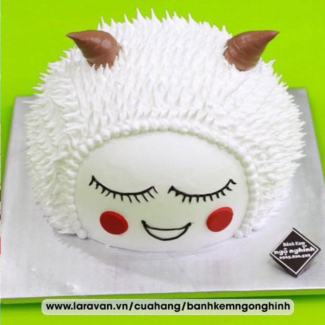 Bánh kem sinh nhật tạo hình 3d mặt con dê