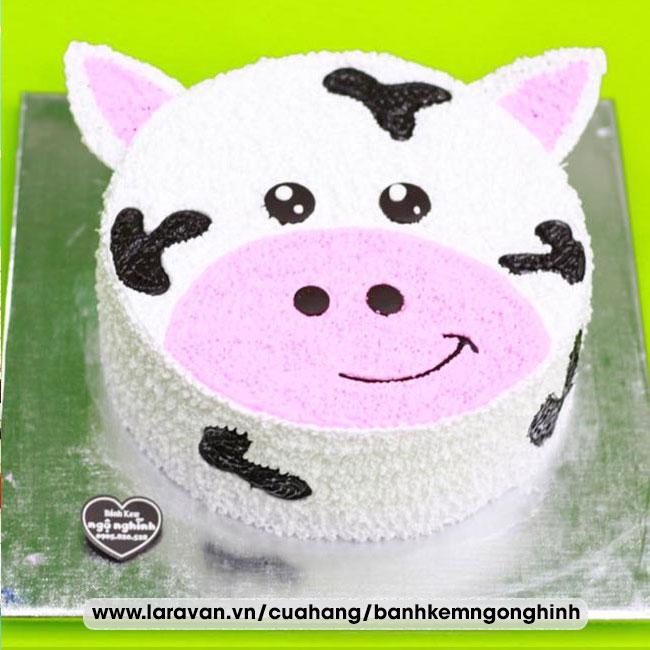 Bánh kem sinh nhật tạo hình 3d mặt con bò