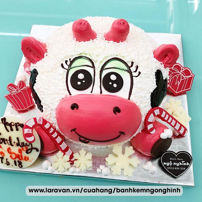 Bánh kem sinh nhật tạo hình 3d con bò sữa