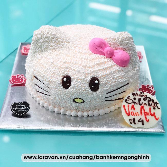 Bánh kem sinh nhật tạo hình 3d mặt mèo hello kitty