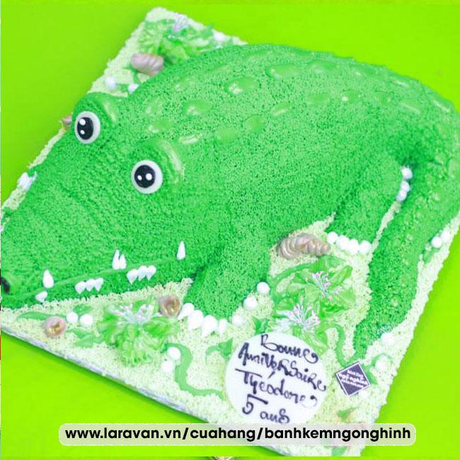 Bánh kem sinh nhật tạo hình 3d cá sấu