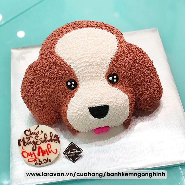 Bánh kem sinh nhật tạo hình 3d mặt con chó