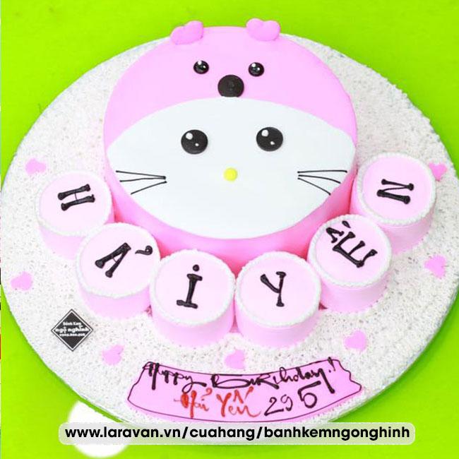 Bánh kem sinh nhật tạo hình 3d mặt con mèo hoạt hình
