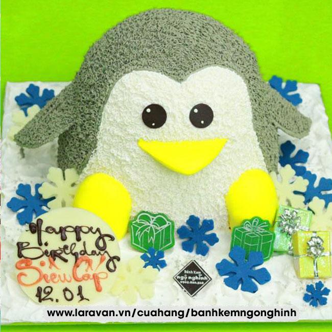 Bánh kem sinh nhật tạo hình 3d chim cánh cụt