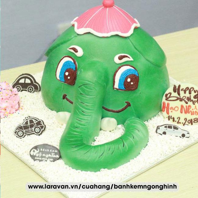 Bánh kem sinh nhật tạo hình 3d mặt con voi