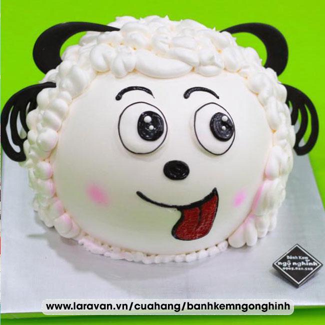 Bánh kem sinh nhật tạo hình 3d mặt con cừu
